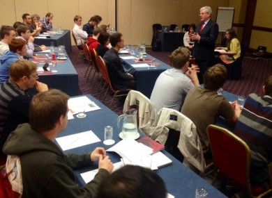 Eamon Gilmore addressing people at the Labour Youth Conference in Limerick yesterday.