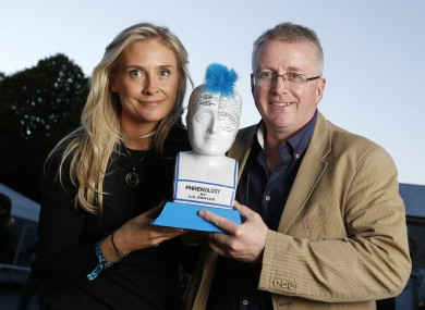 Gráinne Barron, CEO of Viddyad, accepts the award from ESB's John McKiernan.
