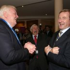 Enda Kenny, shares a joke with Kieran Calnan (left) and Dermot Collins<span class=