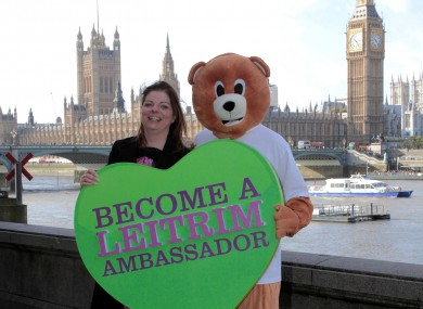 Leitrim Tourism's Sinead McDermott with mascot Boxty in London this week.