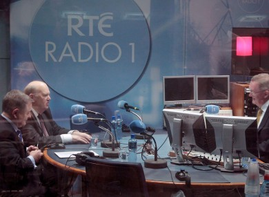 Michael Noonan and Brendan Howlin in studio with Seán O'Rourke