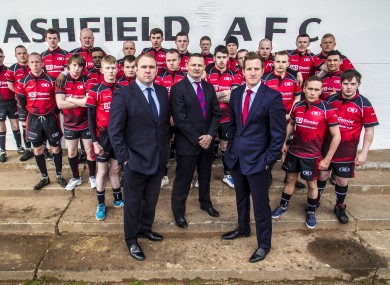 Coaches (L-R) Scott Quinnell, Chris Chudleigh and Will Greenwood with the Glasgow School of Hard Knocks team.