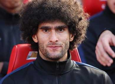 Manchester United's Marouane Fellaini on the bench before the game against West Bromwich Albion.