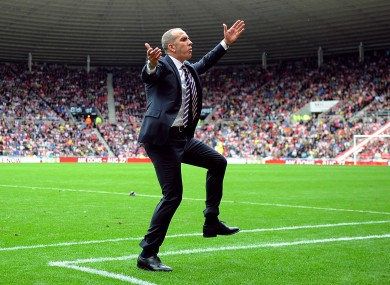 Sunderland's manager Paolo Di Canio reacting on the touchline.