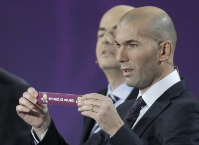 Zinedine Zidane pulls Ireland out of the draw for Euro 2012.