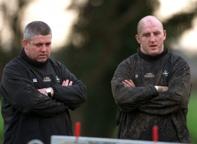 Happier times? Gatland and Wood during Ireland training in 2000.