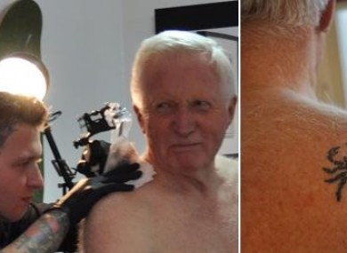 David Dimbleby getting his tattoo done on the show Britain and the Sea.