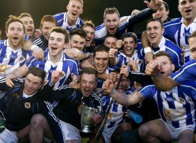 Ballyboden St Endas team celebrates winning the Dublin senior hurling title.