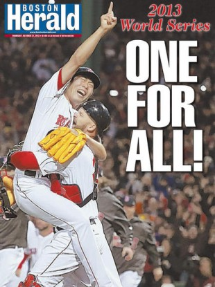 The Boston Herald celebrates the Red Sox' World Series win.