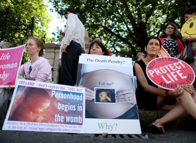 Anti-abortion protesters outside Leinster Hose ahead of a vote on the Protection of Life During Pregnancy Bill in July.