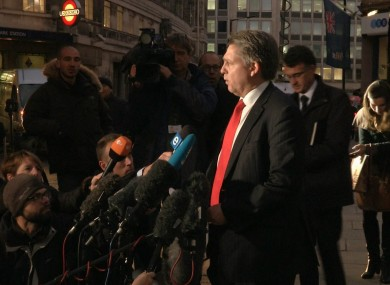 Kevin Hyland, head of the Metropolitan Police's human trafficking unit speaks to the media outside New Scotland Yard HQ.