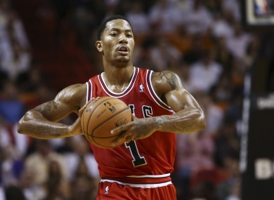 Derrick Rose in action against the Miami Heat this season.
