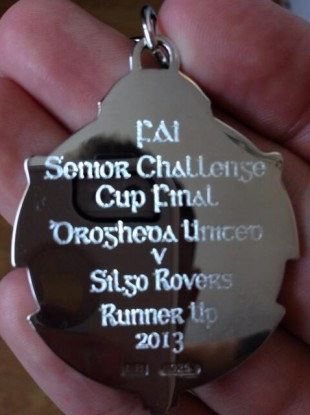 Philip Hand's runners-up medal, complete with misspelling.