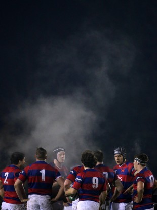Clontarf players regroup before a scrum in a recent Ulster Bank League game.