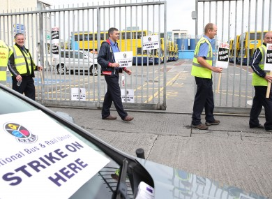 SIPTU and NBRU members picket during the Dublin Bus strike.