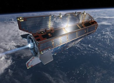 Research satellite GOCE flies above earth