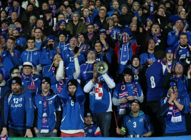 Iceland supporters react during their team's match against Croatia.