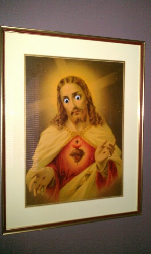 Apparently putting googly eyes on the portrait of Jesus my parents have is not funny and blasphemous. - Imgur