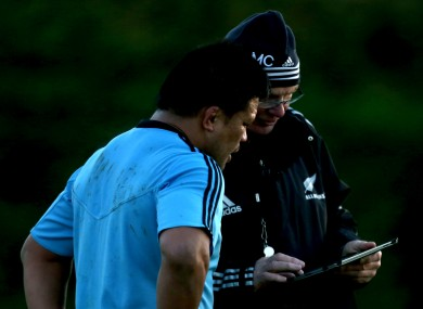Keven Mealamu and All Blacks forwards coach Mike Cron, not leaving a comment on TheScore.ie.