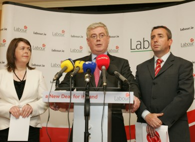 Joanna Tuffy (left) with Labour leader Eamon Gilmore and TD Ciarán Lynch (File photo)