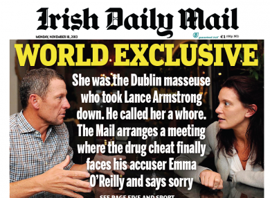 The Irish Daily Mail's front page on Monday.