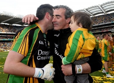 Donegal's Paul Durcan with Jim McGuinness after the 2012 All-Ireland fina