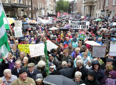 Pensioners protest in Dublin over changes to medical card eligibility.