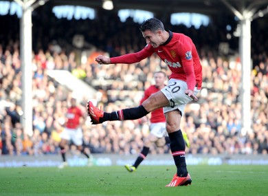 Robin van Persie sent a piledriver into the roof of the Fulham net to make it 2-0.