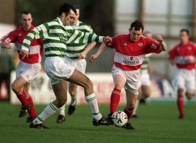 Caulfield (right) playing for Cork back in 2001.