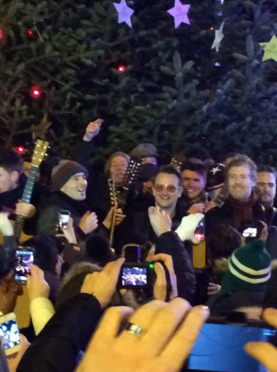 Bono, Glen Hansard and co at the top of Grafton Street this evening