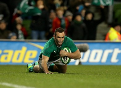 Kearney scores his second try against Samoa last month.