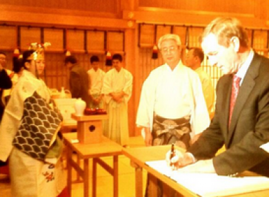 Enda Kenny at Tokyo's Meiji Shrine