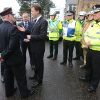 Deputy Prime Minister Nick Clegg speaks with members from the Salvation Army during a visit to the Clutha bar helicopter crash scene in Glasgow after Friday nights incident.<span class=