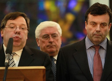 Brian Cowen and Brian Lenihan in November 2010.
