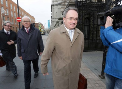 NAMA Chairman Frank Daly and CEO Brendan McDonagh pictured on their way into Leinster House.