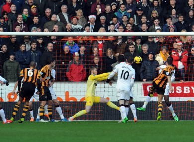 James Chester scores for Hull.