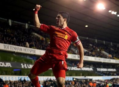 Luis Suarez has scored 19 goals in 12 Premier League games.