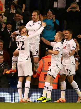 Roberto Soldado celebrates his first goal of the evening for Spurs.