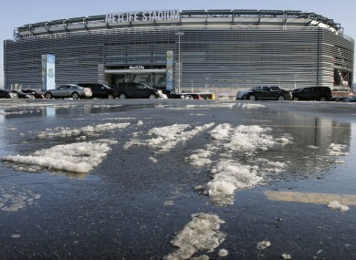 Snow and slush outside MetLife stadium in East Rutherford, N.J today.