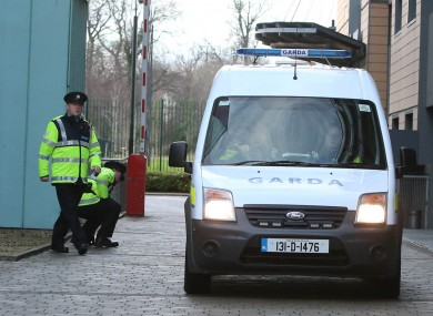 A Garda van containing Saverio Bellante arrives at Blanchardstown District Court