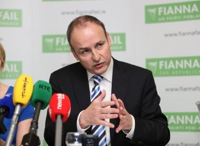 Micheál Martin speaking in Dublin yesterday