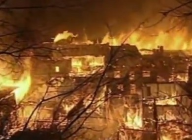 Tibetan town engulfed in flames.