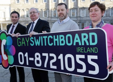 (LtoR) John Lyons TD, Minister for Communications, Pat Rabbitte, Director of the Gay Switchboard Tony Cooney and Publicity Coordinator Maria Keogh.