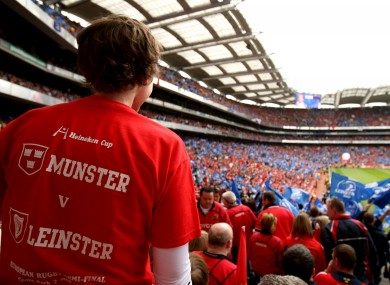 A Munster fan at the 2009 Heineken Cup semi final with Leinster.