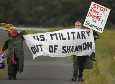File photo of Shannon Peace activists Niall Farrell and Margaretta D'arcy attempting to block the runway of Shannon Airport