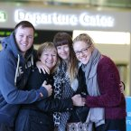 Jeremy, Catherine, Lauren and Erica Crothers at Dublin airport as Lauren leaves to go back to Cambodia where she works as a photojournalist.<span class=