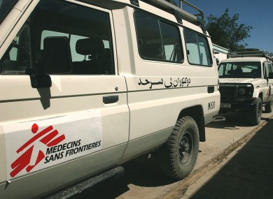 File photo of Medecins sans Frontieres aid trucks.