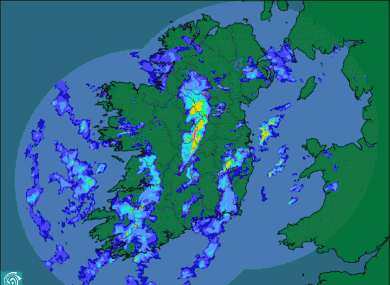 The rainfall radar of Ireland as of 7am this morning