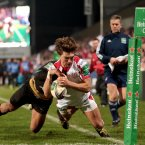 Michael Allen's foot is in touch and Ulster are denied their fourth try.<span class=