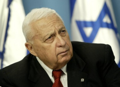 2004 photo of Ariel Sharon during a news conference in Jerusalem.